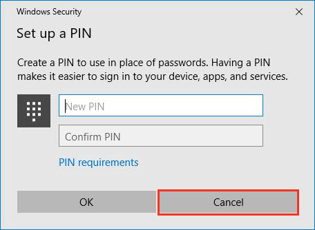 Cancel PIN