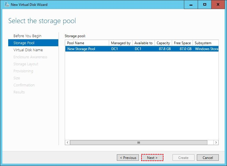 Select the Storage Pool