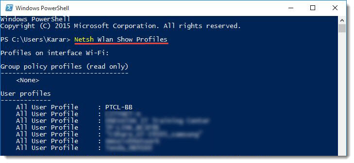 Windows PowerShell -Show Wifi's