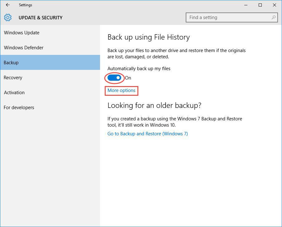 Backup File History