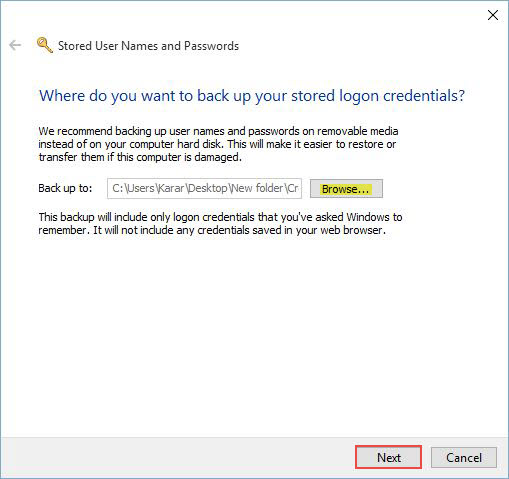 Credential Backup