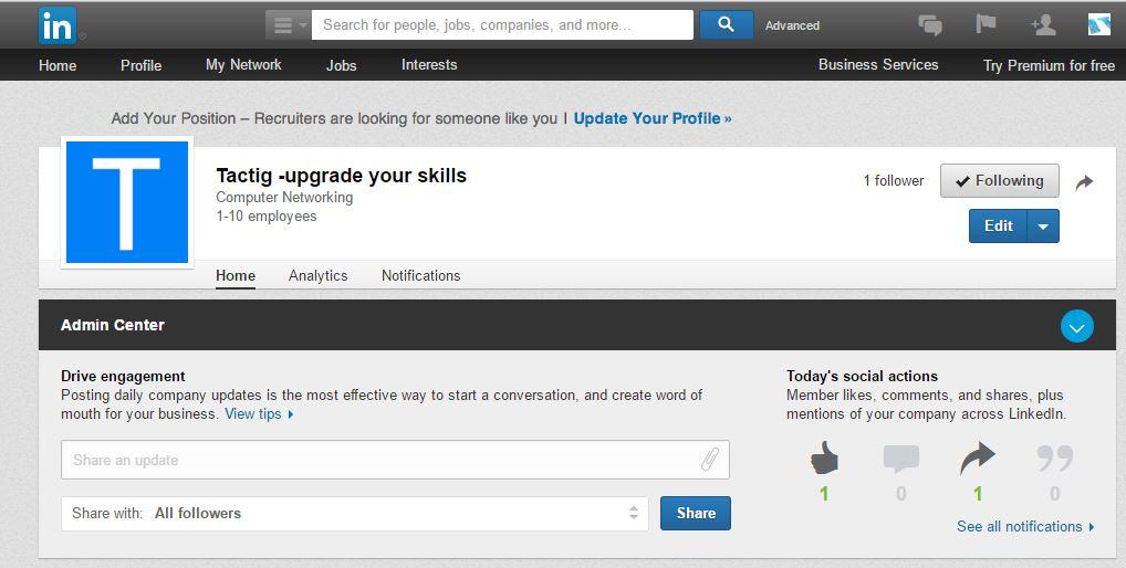 LinkedIn Company Page Created