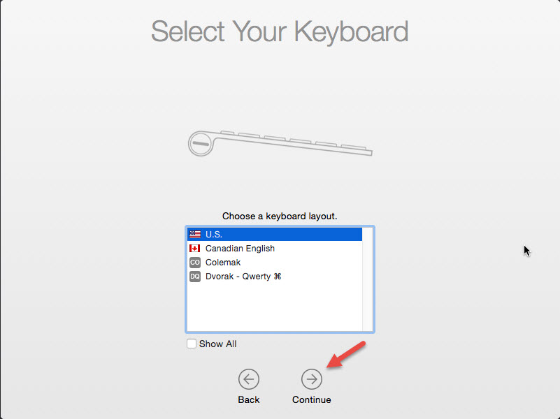 choose keyboard layout