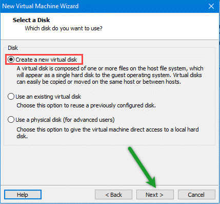 Create new virtual disk