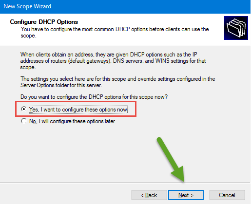 Configure DHCP Option