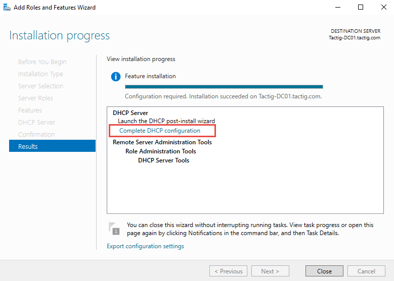 Complete DHCP Configuration option