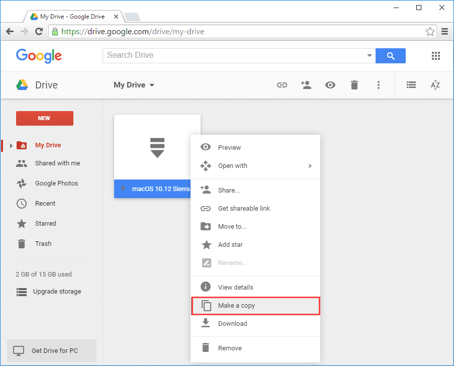 Google Drive -Copy the file