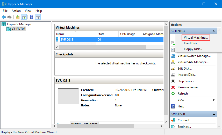 hyper v manager windows 7 create virtual machine