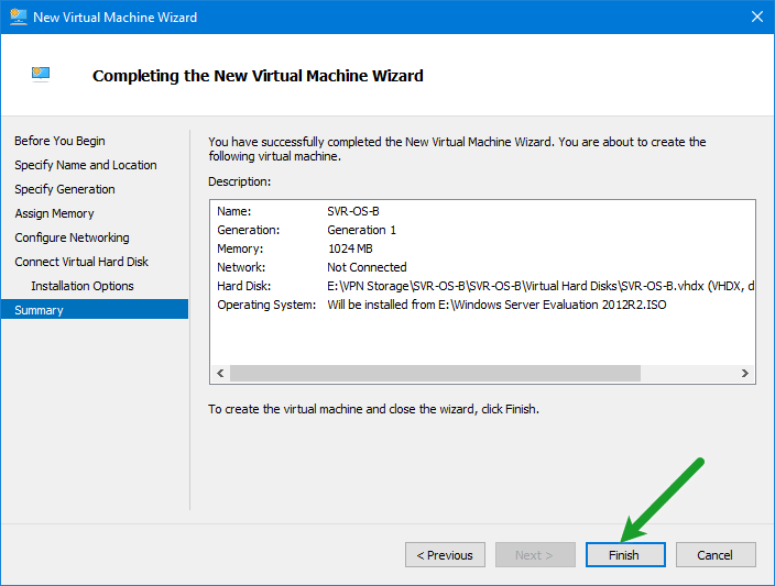 Finish Creating VM Wizard