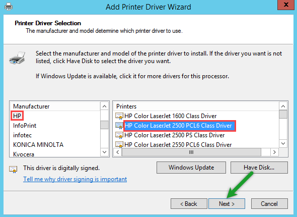 Printer Driver Selection