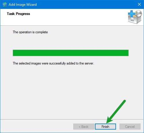 Finish Install Image Wizard
