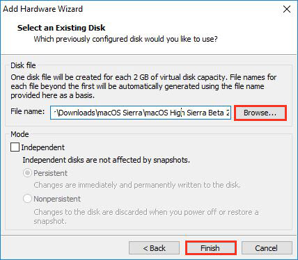 Select Exisiting Hard Disk