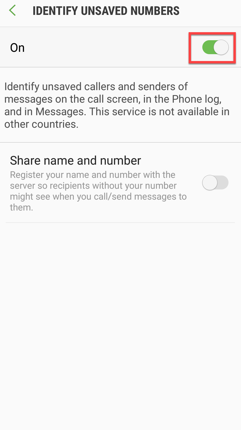 Identify unsaved numbers