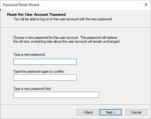 Reset user account